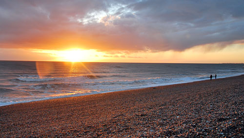 Sunset over the beach, Hove
